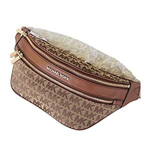 Michael Kors Kenly Logo Belt Bag Waist Pack Crossbody Bumbag Jacquard Logo, Beige Ebony Luggage, Medium