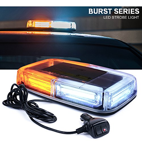 Xprite Burst Series 12V COB LED White & Amber Roof Top Emergency Hazard Warning LED Mini Strobe Beacon Lights Bar w/Magnetic Base, for Snow Plow, Police, Firefighters, Trucks, Vehicles