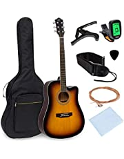 Best Choice Products 41in Full Size Beginner Acoustic Cutaway Guitar Set w/Case, Strap, Capo, Strings, Tuner - Sunburst