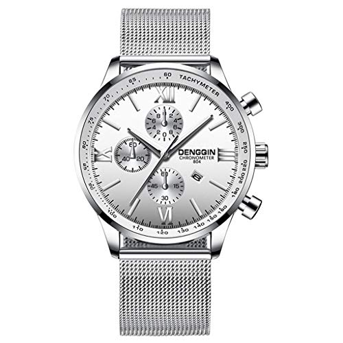 (WoCoo Classic Business Analog Quartz Watch relojes de hombre with Date Big Face Waterproof Case Dial Watches Stainless Steel Mesh Band(Silver))