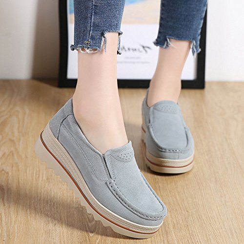 Comfort Sanyes Wide Moccasins Suede On Platform Wedge Low Loafers Shoes Slip Grey Women Top rxwTpXHr