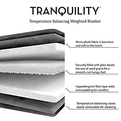 Tranquility. Weighted Blanket with Washable Cover ● Gray ● 15 lbs: Home & Kitchen