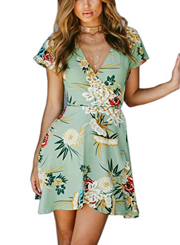 FFLMYUHULIU Women's Deep V-Neck Short Sleeve Flare Asymmetric Print Float Short Mini Dress (lvse, XL)
