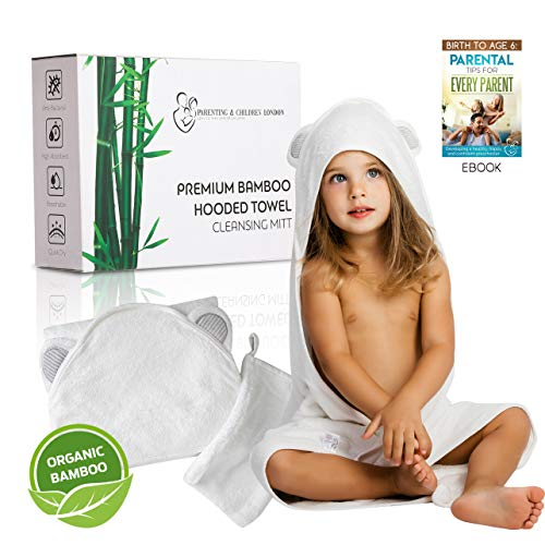 Baby Bath Towel White with Hood for Boys and Girls | Ultra Soft Organic Bamboo Towel and Washcloth Set, Large, Hypoallergenic Baby Hooded Towel for Infants and Toddlers | Baby Shower Gift Unisex -