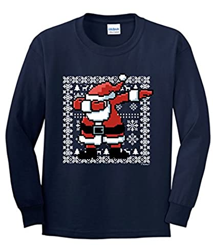 Funny Christmas Shirts Dabbing Santa Claus Ugly Christmas Sweater Themed Youth Long Sleeve T-Shirt XL (Themed Sweaters)