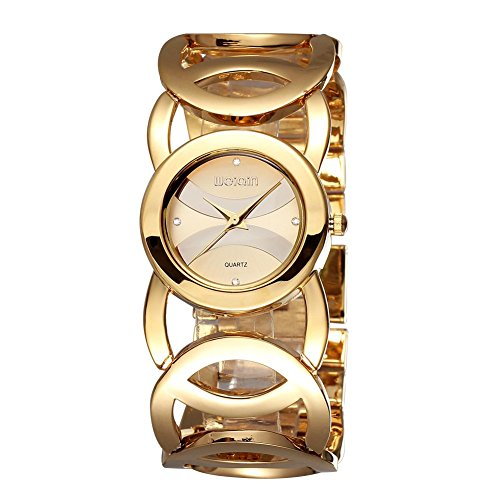 Women Rose Gold Plated Alloy Rhinestone Dial Bracelet Wrist Watch Gift Gold - 7