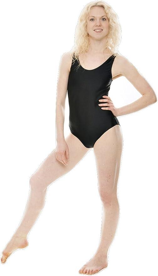 Girls Plain Tank Sleeveless Dance Ballet Leotard Black Shiny Nylon Lycra Childs