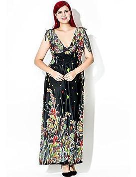 DESY Mujer Corte Swing Vestido Tallas Grandes Vintage,Estampado Escote en V Profunda Maxi Sin