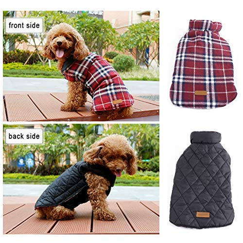 - REXSONN Pet Dog Cats Cozy Windproof Jacket Winter Warm Apparel Grid Plaid Reversible Coat Coats for Small Puppy Medium Large Dogs