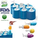 Aolvo Stieleis-Formen, Fisch-Formen für Eis am Stiel, BPA-frei waschbar wiederverwendbar 100% Lebensmittelqualität Silikon Eis zum Selbermachen