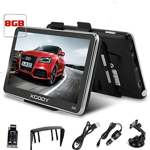 Xgody 5 Inch Portable Car GPS Navigation with Sunshade Sat Nav Touch Screen...