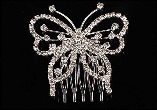 [Women Butterfly Crystal Rhinestones Inlaid Hair Clip Headwear-0030] (Red Croc Pattern)