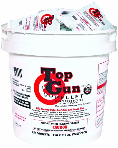 (JT Eaton 754 Top Gun Pellet Place Packs Rodenticide Bromethalin Neurological Bait with Stop-Feed Action and Bitrex, For Mice and Rats (Pail of 128))
