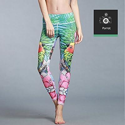 MAYUAN520 Pantalon De Yoga Taille Haute Imprimé Animal 3D Compression Short Quick Dry Bar D'Entraînement Sport Fitness,Vêtements Leggings Parrot,M