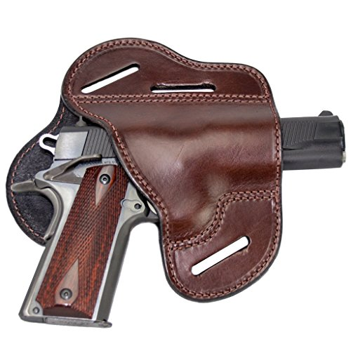 The Ultimate Leather Gun Holster – 3 Slot Pancake Style Belt Holster -Handmade in the USA! – Fits 1911 Style Handgun – Brown Right Handed