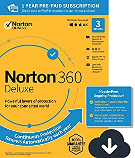 Norton 360 Deluxe gives you comprehensive malware protection for up to 3 PCs, Macs, Android or iOS devices, including 25GB of secure PC cloud backup and Secure VPN for your devices. Enrolling in our auto-renewing subscription and storing a payment me...