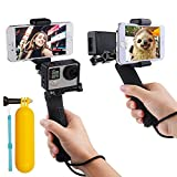 First2savvv GO-ST-GJ-A01QSB Action Camera Grip Mount Handle Stabilizer Selfie With Smartphone Mobile Phone Clip for Gopro Hero 4, Session, Black, Silver, Hero+ LCD, 3+, 3, XIAOMI 1 YI 2 4K SJ5000 SJ6000 + dive stick