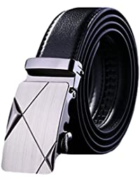 Men's Leather Belt Sliding Buckle 35mm Ratchet Belt Black