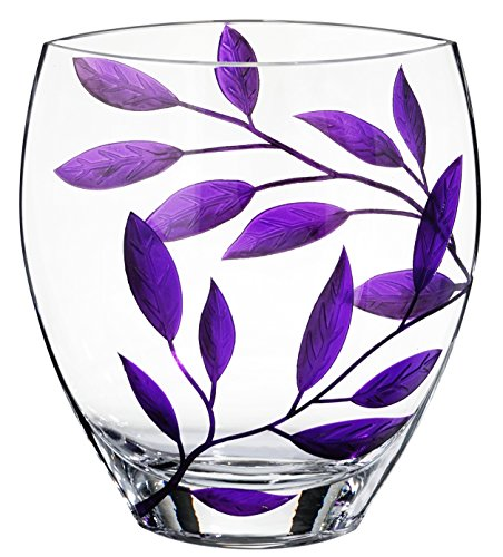Premium Handmade Glass Vase - Decorated with Sandblasted and Painted Purple Leaves - Mouth Blown Lead Free Glass - Unique Decorative Centerpiece - 8.3 inch (21 cm)