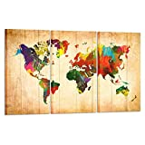 Kreative Arts - Large Canvas Wall Art Prints World Map Painting 3 Pieces Large Framed Canvas Art Retro Watercolor Push Pin Travel Map of the World Abstract Picture Artwork for Home Office Decoration