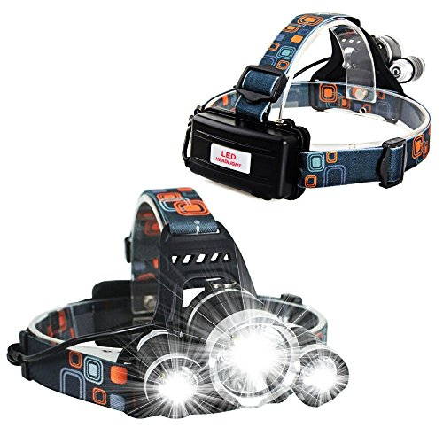 Price comparison product image Strong LED Headlamp 5000 Lumens Rechargeable batteries full charging kit included XML T6 3 LED Aluminum