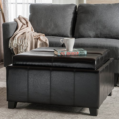 Great Deal Furniture Plymouth Espresso Leather Tray Top Storage Ottoman