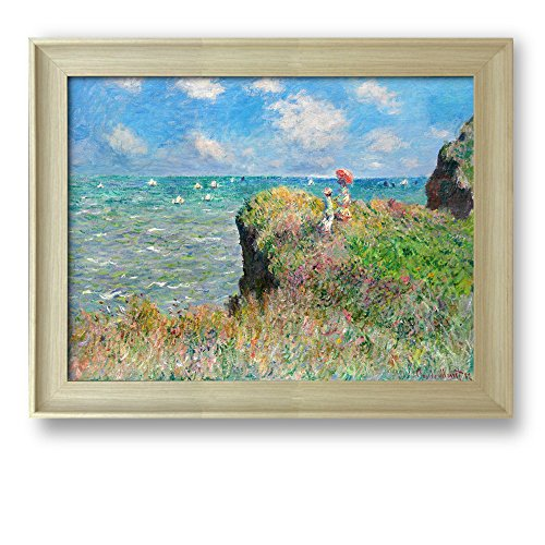 Cliff Walk at Pourville by Claude Monet Framed Art Print Famous Painting Wall Decor Natural Wood Finish Frame