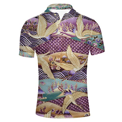 HUGS IDEA Vintage Men's Short Sleeve Chinoiserie Red-Crowned Crane Print Tee Sport Golf Polos Shirt