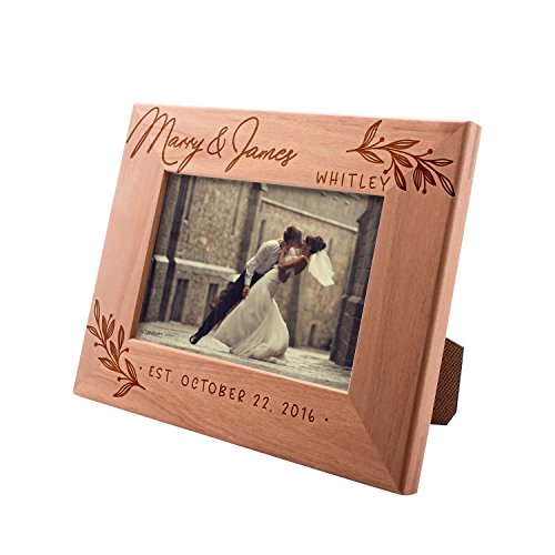 (Personalized Picture Frames 4x6, 5x7, 8x10 - Flourish Personalized Romantic, Wedding Photo Frame, Engagement, Valentine's Day, Wedding Gifts for The Couple)
