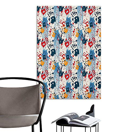 Brandosn 3D Murals Stickers Wall Decals Abstract Hand Prints and Blots Grunge Looking Colors Splashes Urban Fun Graffiti Theme Multicolor Warm and Romantic W16 x H20 ()