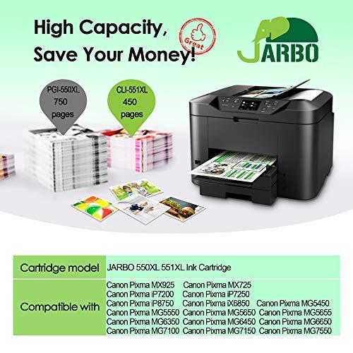 JARBO 18 Piezas Compatible Canon PGI-550 XL CLI-551 XL Cartuchos ...