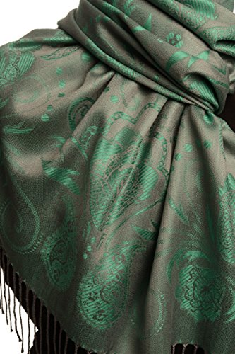 Pearls & Paisleys On Green & Grey Pashmina Feel With Tassels - Vert ?charpe Taille Unique - 70cm x 180cm
