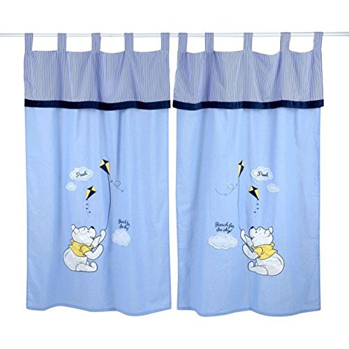 Blue Winnie the Pooh Crib Bedding Accessory - Window Curtain by Blancho