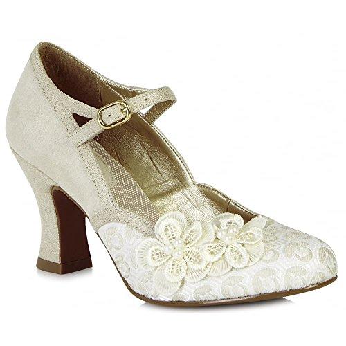 Ruby Shoo Women's Cream Amelia Mary Jane Pumps UK 5 EU 38 - Divine Ankle Strap Pumps
