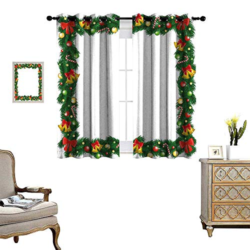 homehot New Year Window Curtain Drape Xmas Themed Garland with Candy Canes Ribbons Colorful Baubles and Bells Winter Decorative Curtains for Living Room Multicolor