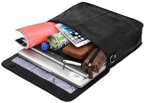 Gusti Leder studio Pharell borsa a tracolla (Portatile 13) College Università Studente Business Vera Pelle interno impermeabile nero grigio 2B13-20-6wp