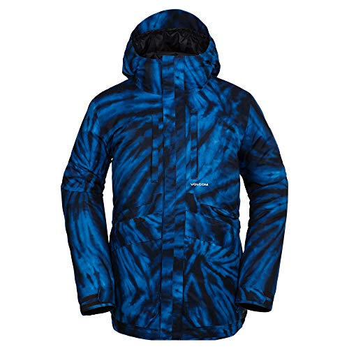 (Volcom Men's Fifty 2 Layer Shell Snow Jacket, Blue tie/dye, Large)