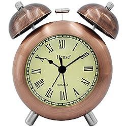 HENSE 4.5'' Retro Vintage Twin Bell Alarm Clocks Mute Silent Quartz Movement Non Ticking Sweep Second Hand Bedside Desk Analog Alarm Clock with Nightlight Loud Alarm,Copper HA17 (Roman Numerals)