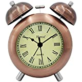HENSE 4.5'' Retro Vintage Twin Bell Alarm Clocks Mute Silent Quartz Movement Non Ticking Sweep Second Hand Bedside Desk Analog Alarm Clock with Nightlight Loud Alarm,Copper HA17 (Roman Numerals)