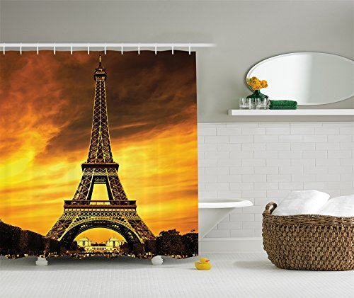 Eiffel Tower Decor Shower Curtain by Ambesonne for Bathroom, Paris Love Valentine's Love City Monument In Dramatic Sunrise Picture France, Polyester Fabric Bathroom Set, Gold Yellow Orange (Brown Eiffel Tower)