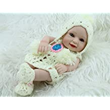 """Terabithia Miniature 11"""" Adorable Realistic Sweet Smiling Newborn Baby Dolls Silicone Full Body for Girl"""