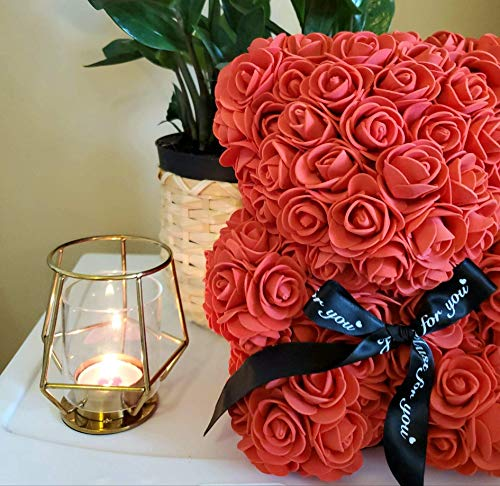"Rose Covered Bear | San Valentin Day Rose Bear for Valentines Day by Decor & Co (Red, 10"")"