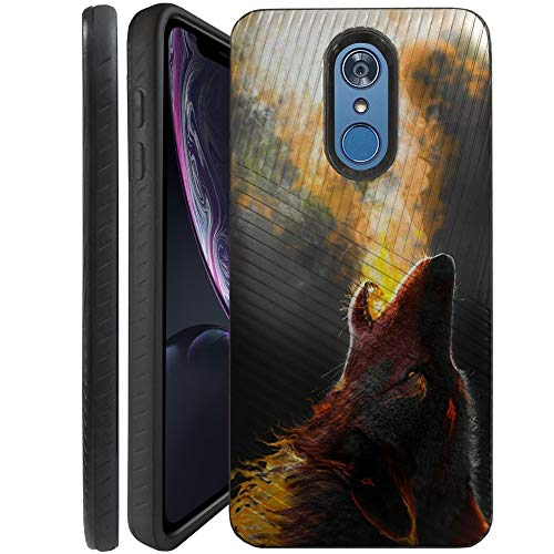 (CasesOnDeck Slim Case for Alcatel Onyx - Dual Layer Embossed Texture Sure Grip Bumper Case (Fire Wolf))