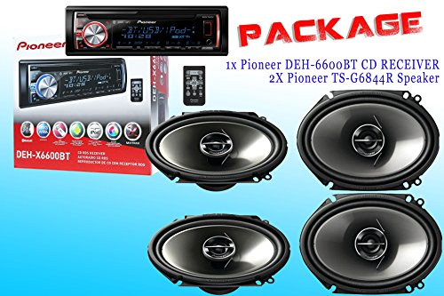 PACKAGE ! Pioneer DEH-X6600BT CD-Receiver + Two Set Pioneer TS-G6844R Car Speakers - 4 Speakers