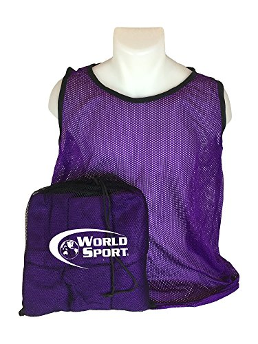 World Sport 12 Pack Adult PURPLE Scrimmage Vests with Carry Bag by
