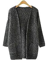 SAYM Women's Twist Pockets School Wear Sweater Loose Long Knit Cardigan
