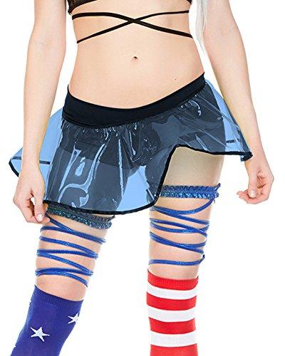(Blue PVC Plastic Rave Micro Mini Skirt One)
