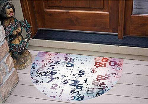 3D Semicircle Floor Stickers Personalized Floor Wall Sticker Decals,Numbers Computer Database Science Information,Kitchen Bathroom Tile Sticker Living Room Bedroom Kids Room Decor Art Mural D31.5