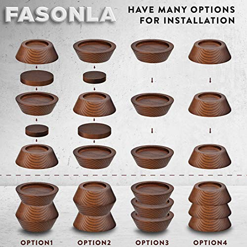 """FASONLA Bed Risers (Set of 8) Furniture Risers Lifts Height 1"""", 2"""", 3"""" or 4"""", Solid Natural Wood Risers for Bed, Furniture, Table, Sofa, Chair Risers with Non-Slip Recessed Hole (Walnut Color, 1 Inch)"""