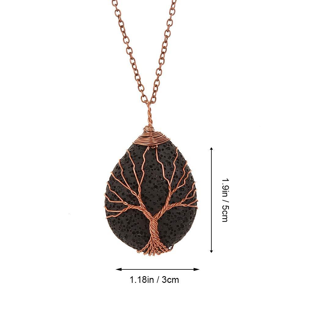 YGMONER Tree of Life Stone Pendant Car Charm Rear View Mirror Hanging Pendant DarkRed